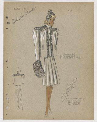 Suit with Boxy Jacked Trimmed in Fur, with Full Skirt and Muff
