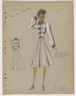 Coat with Horizontal Tucks on Bodice, with Green Hat and Shoes