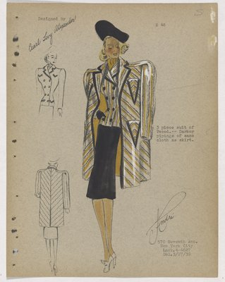 Three-Piece Suit with Yellow and Black Jacket and Coat, and Black Skirt