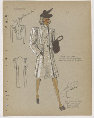 Coat with Stitching on Collar and V-Shaped Pockets,with Brown Accessories