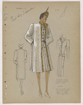 Three-Piece Suit with Leopard Facing Panel on Topcoat and Leopart Hat