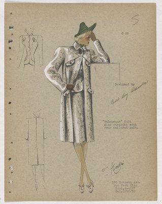 Balmacaan Suit with Four Flap Pockets on Coat, with Green Hat