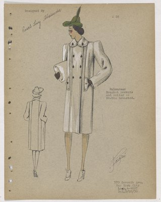 Coat with Brown Buttons and Gloves, with Green Hat