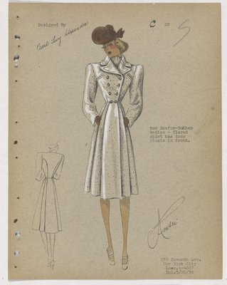 Double-Breasted Coat with Deep Pleats on Skirt, with Brown Hat