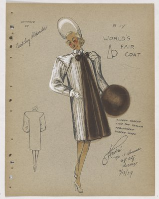 World's Fair Coat with Brown Fur down Front, on Muff and Pom Poms