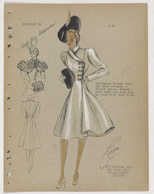 Coat with Buttons at Side Closing, with Flared Skirt and Black Hat