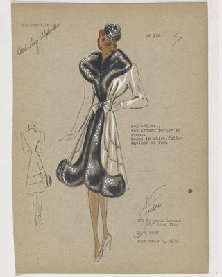 Coat with Black Fur on Collar, down Front and Border, with Bow