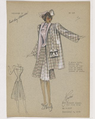Three-Piece Suit with Pink Plaid Coat and Skirt and Solid Pink Jacket