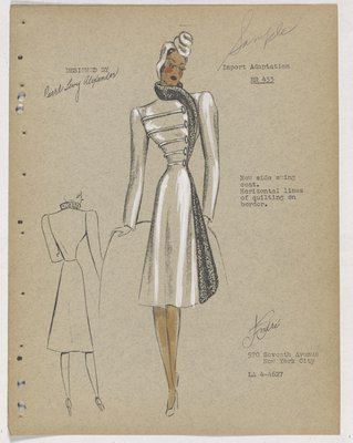 Coat with Horizontal Lines on Bodice and Fur along Closing