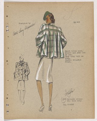 Short Loose Coat in Green Plaid, with Green Hat