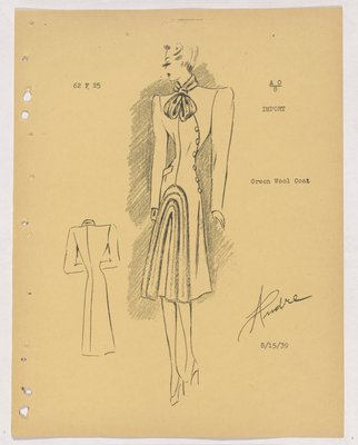 Schiaparelli Coat with Fur Tie at Collar and Fur Bands on Skirt