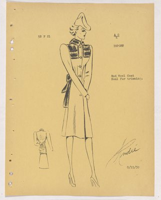 Schiaparelli Coat with Fur Back, Collar and Yoke, with Bow at Back