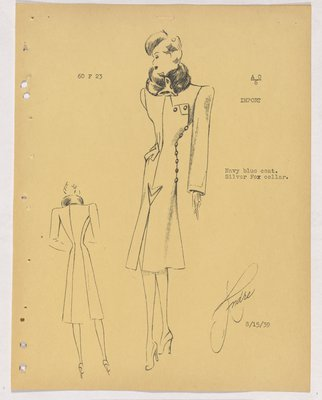 Schiaparelli Coat with Animal Face at Neck and Buttons along Side
