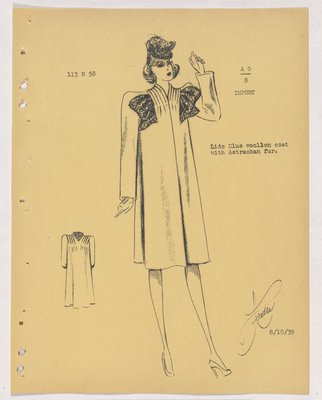 Mainbocher Coat with Tucks over Shoulders and Fur Bow at Neck
