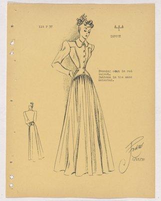 Balenciaga Evening Coat with Long Full Skirt and Bow at Back