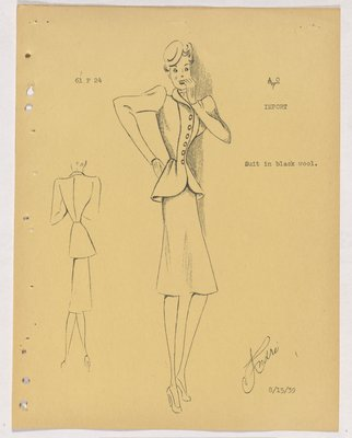 Schiaparelli Suit with Pointed Shoulders and Buttons down Jacket