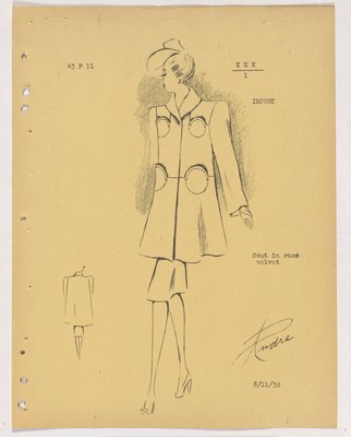 Coat with Four Circular Pockets