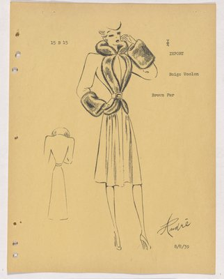Lucile Paray-Jenny Coat with Fur Collar, Cuffs and down Front of Jacket