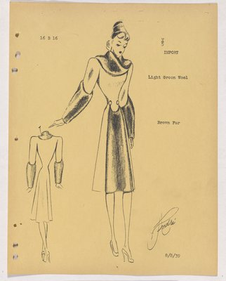 Lucile Paray-Jenny Coat with Fur Collar, Cuffs and down Front of Skirt