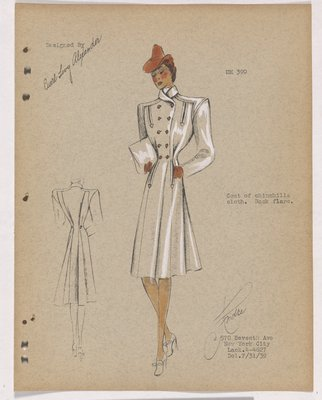 Coat with Arrowhead Detail and Red Buttons, Hat and Gloves