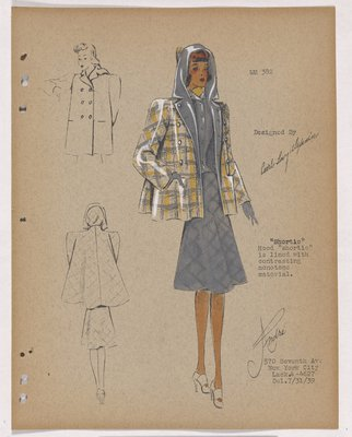Shortie Yellow Plaid Topcoat with Hood, over Grey Suit