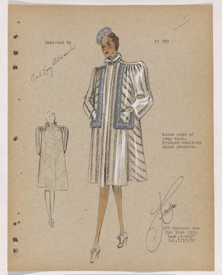 Striped Coat with Grey Fur Outlining Pockets, with Grey Hat