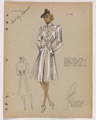 Coat with Soft Bodice and Full Skirt, with Wing Pockets
