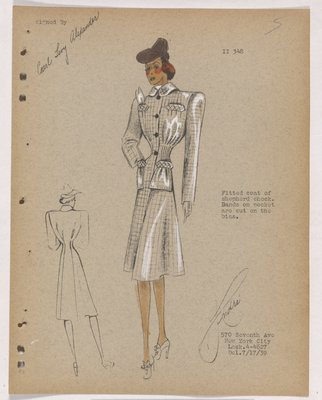 Checkered Coat with Tucks at Waist and Four Pockets