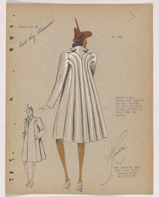 Coat with Rolling Pleat Effect at Back with Red Hat