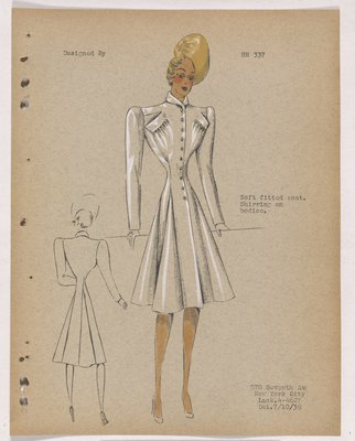 Coat with Shirring under Pockets at Bodice, with Yellow Hat