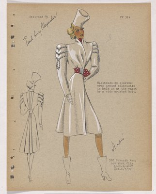 Coat with Nailheads on Sleeves and Red Belt