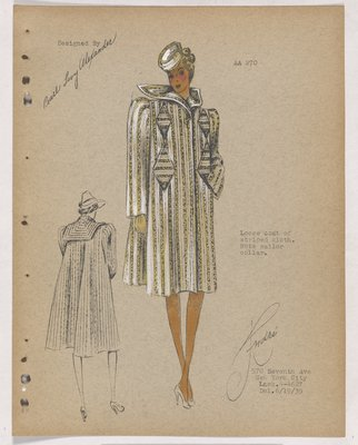Yellow Striped Coat with Diamond-Shaped Pockets and Sailor Collar