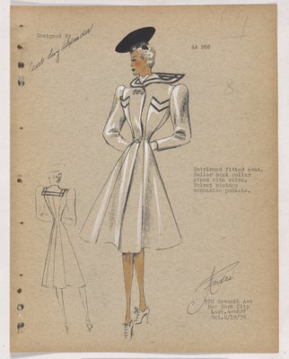 Coat with Velvet Pipings on Pockets and Sailor Back Collar