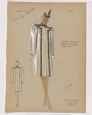 Boxy Coat with Fur Strips down Front and at Collar