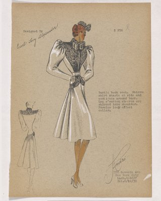 Coat with Looped Fur Collar and Fur on Bodice and Pockets
