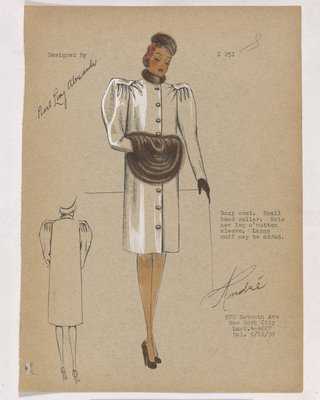 Coat with Sunburst Effect on Shoulders, with Brown Accessories