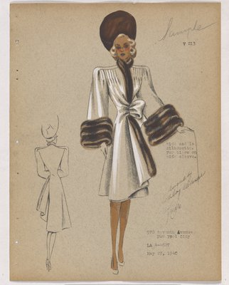 Coat with Brown Fur on Closing and Cuff, with Side Bow