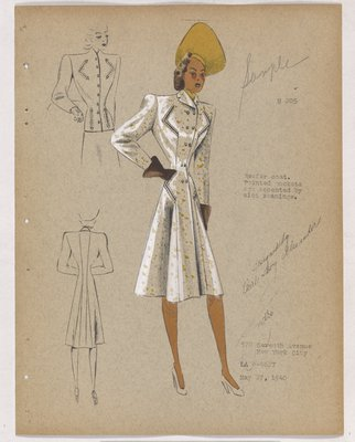 Coat with Four Pointed Pockets and Yellow Hat and Brown Gloves