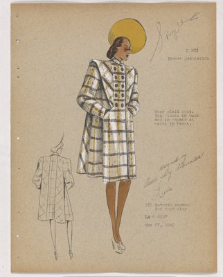 Yellow and Grey Plaid Coat with Yellow Hat