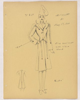 Schiaparelli Coat with Slant Arrowhead Detail and Welt Pockets