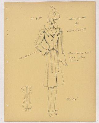 Schiaparelli Coat with Slant Arrowhead Detail and Welt Pockets