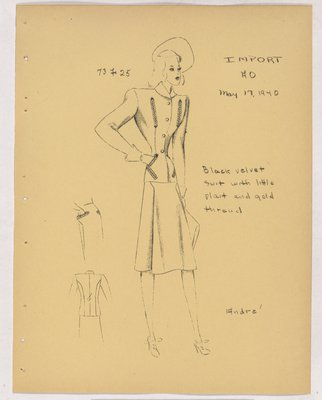 Schiaparelli Suit with Trim Around Four Welt Pockets