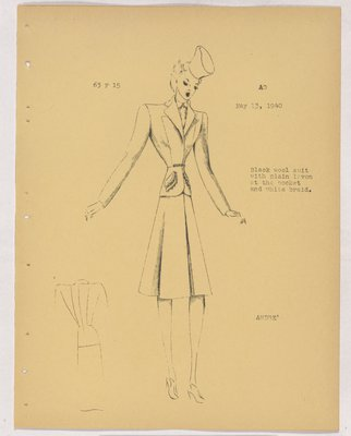 Schiaparelli Suit Trim along Patch Pockets and Braid at Waist