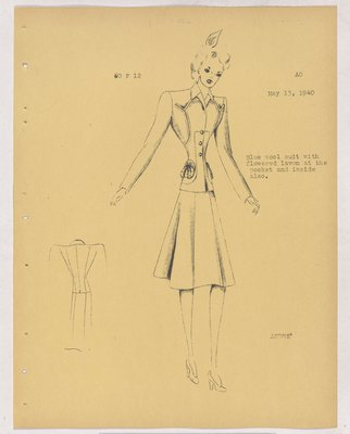 Schiaparelli Suit with Pouch Pockets and Stitching at Top