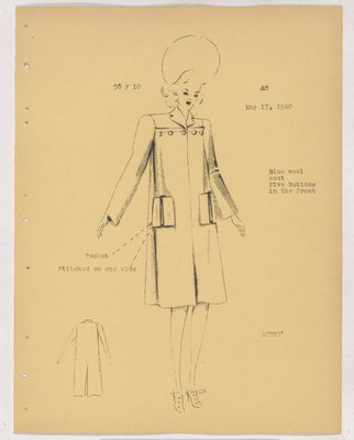 Schiaparelli Coat with Five Buttons Across Yoke
