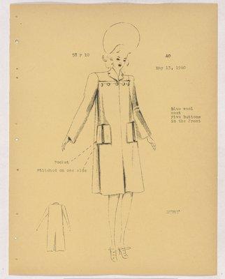 Schiaparelli Coat with Five Buttons Across Yoke