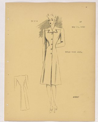 Molyneux Coat with Small Pointed Lapels