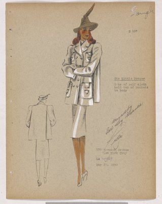 the Little Topper Coat with Four Patch Pockets and Brown Hat