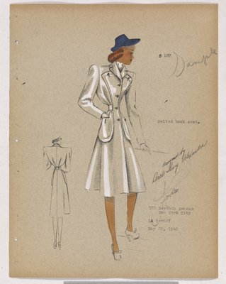 Coat with Patch Pockets and Blue Hat