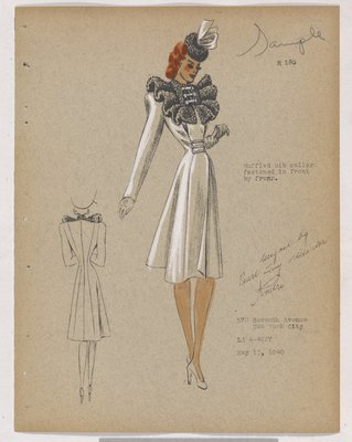 Coat with Ruffled Bib Collar in Fur, with Three Fastenings at Waist